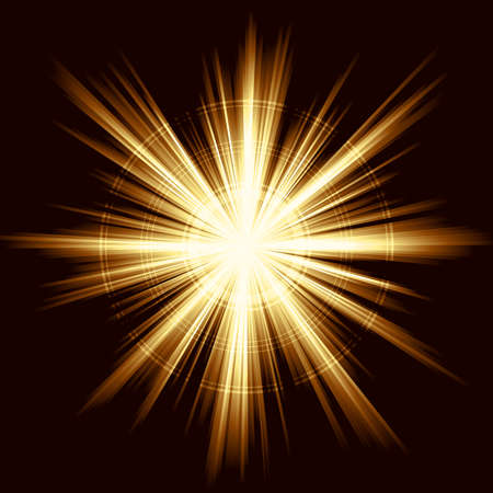 Square golden explosion of light. Linear gradients, no transparencies. Vector