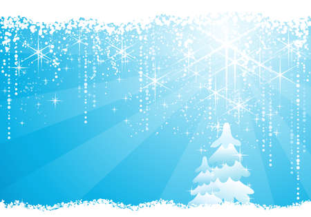 Seasonal blue Christmas / winter background with trees, circles,  stars and grunge elements. Stock Vector - 7923044