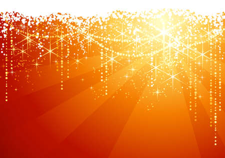 occasions: Abstract red golden background with sparkling stars for festive occasions. Great as Christmas background.