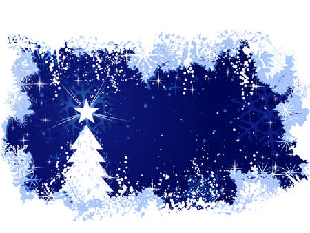 Blue abstract background with ice and snow, a Christmas tree with stars and grunge elements. Great for seasonal  winter themes. Space for your text.