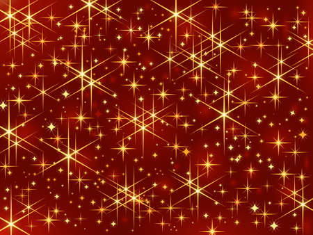 Dark red background with glowing and sparkling stars. Illustration
