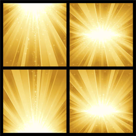4 different golden light bursts with magic stars. Great for festive themes, like Christmas or New Years. Vector