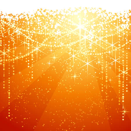 occasions: Red golden background with sparkling stars for festive occasions. Great as Christmas or Neaw years background. Illustration