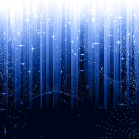 new year's eve: Stars and snowflakes on blue striped background. Festive pattern great for winter or christmas themes.