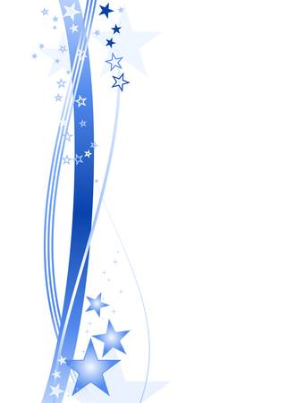 border line: Blue wavy lines and stars forming a festive border on white.