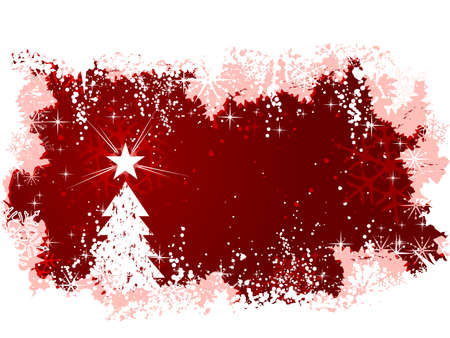 christmas vector: Red abstract vector background with snow, a Christmas tree with star and grunge elements. Great for seasonal  winter themes. Space for your text. Illustration