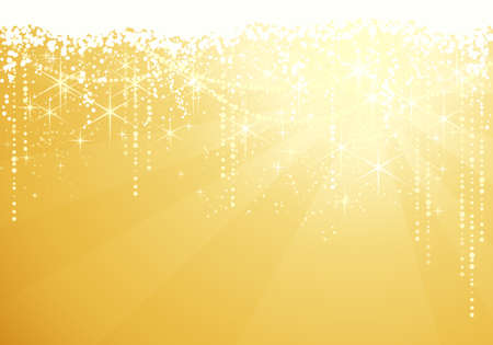 Golden background with sparkling stars for festive occasions. Great as Christmas or New years background. Vector