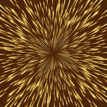 brilliance: Stylized golden fireworks, light burst with the center in the middle of the square image. Illustration