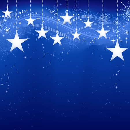 Festive bleu Noël fond sombre avec des étoiles, des flocons de neige et des éléments de grunge.