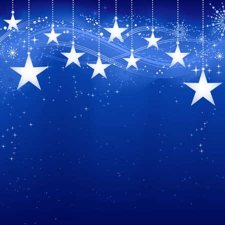 Festivo scuro Natale sfondo blu con le stelle, i fiocchi di neve e gli elementi del grunge.