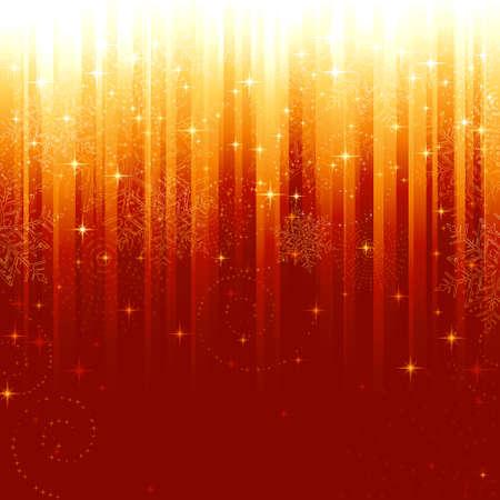 Étoiles et des flocons de neige sur fond rouge de rayures dorée. Patron festive pour fêtes ou des thèmes de Noël.