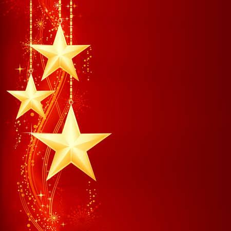 Feestelijke red golden Kerstmis achtergrond met gouden sterren, sneeuwvlokken en grunge elementen.