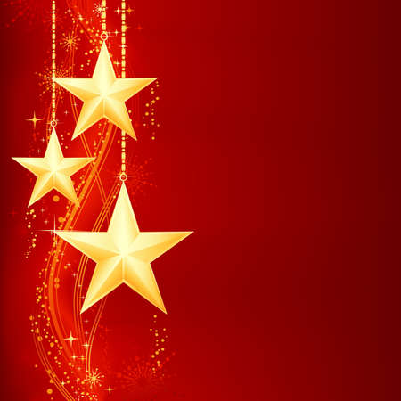 gold stars: Festive red golden Christmas background with golden stars, snow flakes and grunge elements.