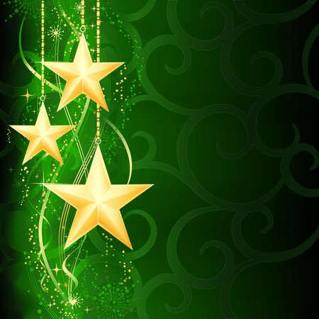 snow flakes: Feestelijke donkere groene kerst achtergrond met gouden sterren, sneeuwvlokken en grunge elementen.  Stock Illustratie
