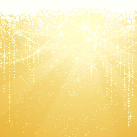 Festive golden background with sparkling stars for special occasions. Great as Christmas or New years background. Vector