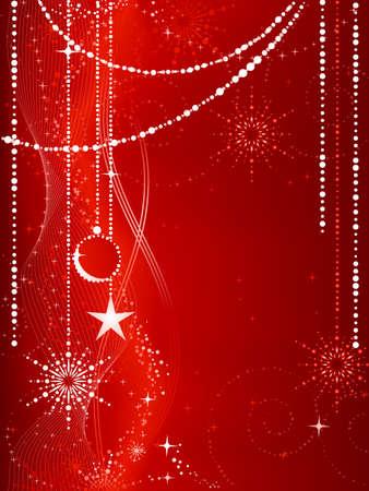 snow flakes: Feestelijke red Christmas achtergrond met sneeuwvlokken, kerstballen, sterren en grunge elementen.