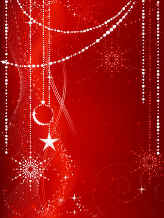 Festive red Christmas background with stars, snow flakes, baubles and grunge elements.  Vector