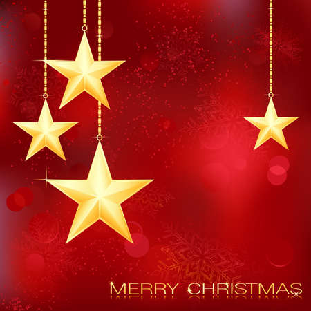 Festive red Christmas background with golden stars, snow flakes and grunge elements.  Vector