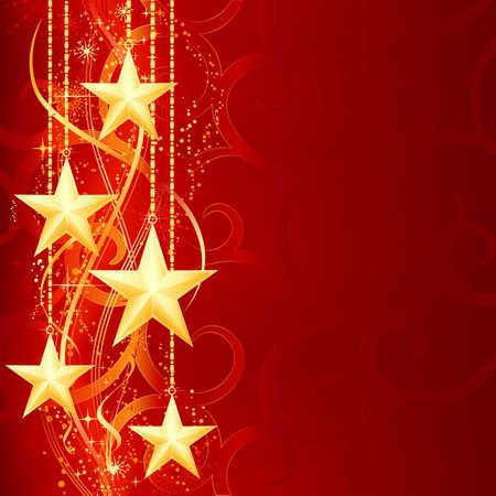 festive occasions: Fondo de Navidad con brillantes estrellas doradas, copos de nieve y elementos de grunge para sus ocasiones festivas.