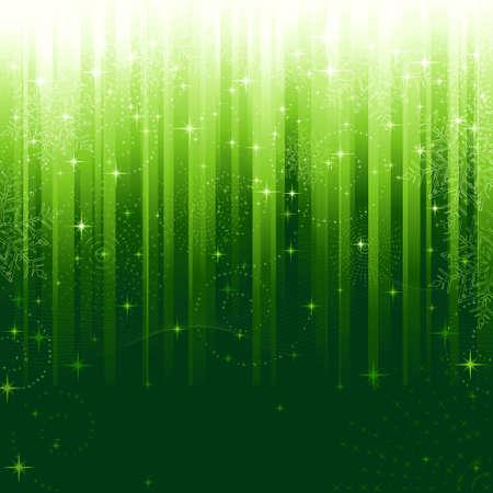 lineas onduladas: Estrellas, remolinos, copos de nieve y l�neas onduladas sobre fondo verde de rayas. Un modelo ideal para ocasiones festivas o temas de Navidad. Vectores