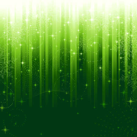 festive occasions: Stars, swirls, snowflakes and wavy lines on green striped background. A pattern great for festive occasions or christmas themes.