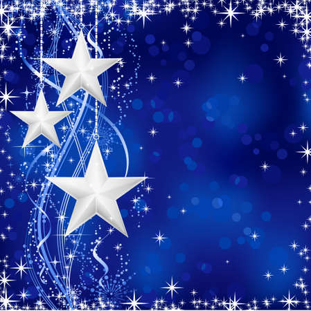 Christmas  winter background with stars, snow flakes and wavy lines on blue background with light dots for your festive occasions. No transparencies. Vector