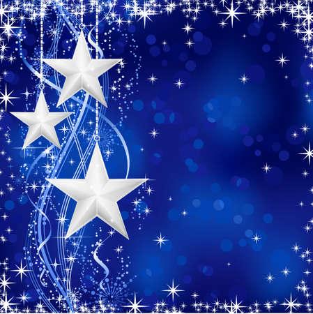 snow flakes: Kerst  winter achtergrond met sterren, sneeuwvlokken en golvende lijnen op blauwe achtergrond met lichte puntjes voor uw feestelijke gelegenheden. Geen transparanten.