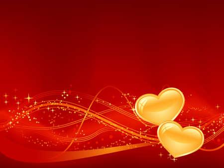 Rode achtergrond met golfjesmotief, stippen, sterren en twee gouden hart in het lagere derde. Groot voor uw romantische ontwerpen, of voor Valentijnsdag.