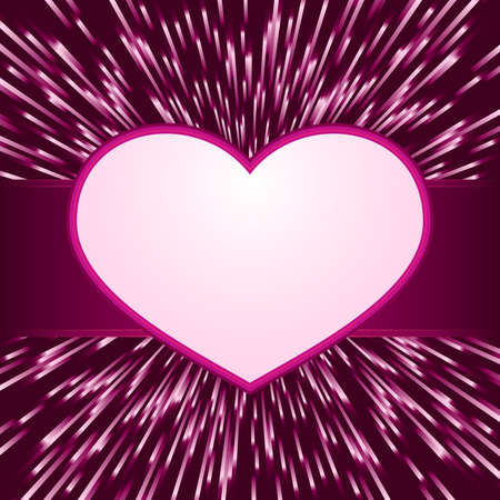 Pink purple explosion of light with centered  heart frame with space for your text. Great for your romantic designs, or for Valentines day. Vector