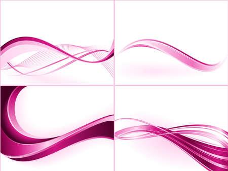 Plantillas de onda rosa púrpura. Uso de mezclas, máscaras de recorte, degradados lineales, muestras de color global. Ilustración de vector