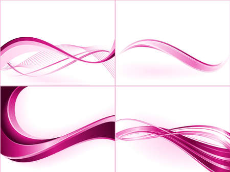curve lines: Purple pink wave templates. Use of blends, clipping masks, linear gradients, global color swatches. Illustration