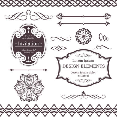 flourishes: Set of ornate vector frames, ornaments and dividers. Perfect to embellish your designs, invitations, or announcements.
