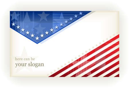 july: US american flag themed background, or card. No transparencies, eps8 file. Space for your text. Illustration