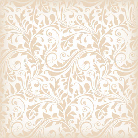 ornate swirls: Repeating texture with floral elements for wallpaper, wrapping paper, decoration or underlying background. Illustration