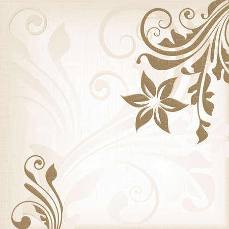 Pale beige background with a floral pattern and overlayed texture. Plenty of space for your text. Vector