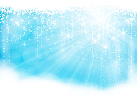 Dreamy blue light burst background with sparkling stars and snowfall giving a festive mood. Great for winter, Christmas or any festive theme. Illustration