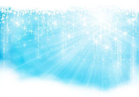 bursts: Sognante scoppio sfondo blu chiaro con stelle scintillanti e nevicate dando una festa. Grande per l'inverno, Natale o qualsiasi tema festivo.
