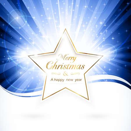 estrellas: Brillante estrella dorada con las palabras Feliz Navidad y un feliz a�o nuevo sobre la r�faga de luz azul con estrellas espumosos. EPS10