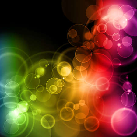 lights: Blurry lights in rainbow colors on dark background with space for your text.  Illustration