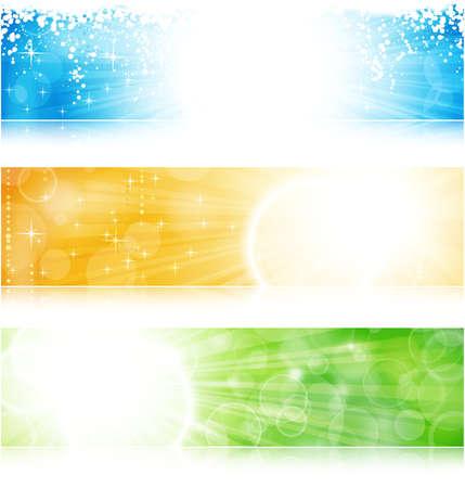 header: Vector intestazione  banner banner scoppio di luce nel verde, blu e oro per le occasioni festive con copyspace. Vettoriali