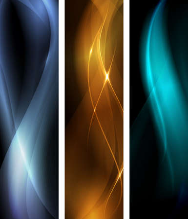 proportions: Vertical banner set, proportions 600x160. Wavy patterns on dark background with light effects. EPS10