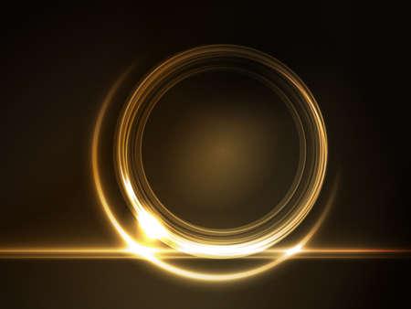 Gouden licht effecten op ronde tijdelijke aanduiding voor uw tekst op donkere bruine achtergrond. Stock Illustratie
