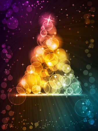new year tree: Light dots of in shades of red, yellow, golden to green blue forming a sparkling Christmas tree embellished with stars. Space for your text