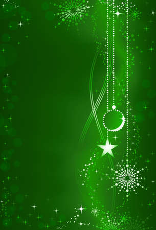 Vertical dark green background with Christmas ball, star and snowflake hanging on the right site and space for your text on the left. Festive background for the festive season. Vector