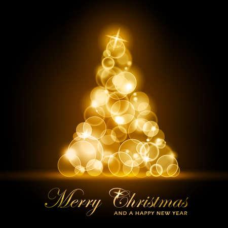 shining light: De oro puntos de luz brillantes formando un brillante y resplandeciente �rbol de Navidad. EPS10