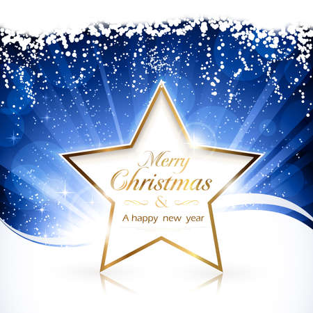 Blue background with golden Merry Christmas and a happy new year star. EPS10