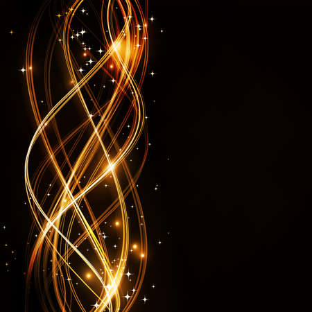 Overlaying wavy lines forming an abstract pattern on a dark background. With stars and space for your text. EPS10 Vector