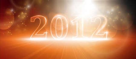 effets lumiere: Nombre Transparent 2012. Divers effets de lumi�re qui lui donne une lueur dans les tons chauds de rouge et orange. EPS10