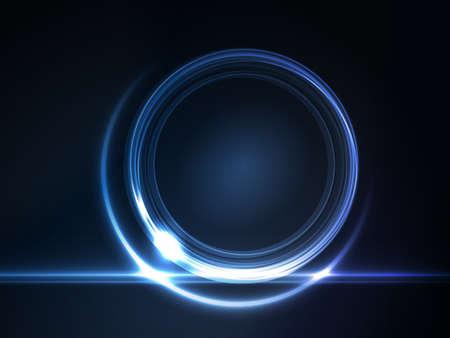 Blauw licht effecten op de ronde tijdelijke aanduiding voor uw tekst op donkere achtergrond.