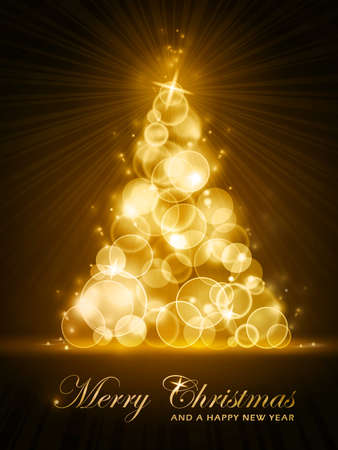 Vertical Christmas card with stylized golden glowing Christmas tree made out light dots.